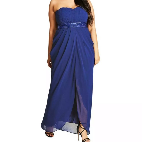 Formal Plus Size Dresses 16W Blue Removable Straps NWT